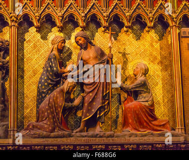 Women Praying Jesus Christ Wooden Panel Statues Sculpture Notre Dame Cathedral Paris France.  Notre Dame was built - Stock Photo