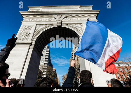 New York, NY - 14 November 2015 NYC  New Yorkers and French Nationals gathered beneath the Washington Square arch - Stock Photo