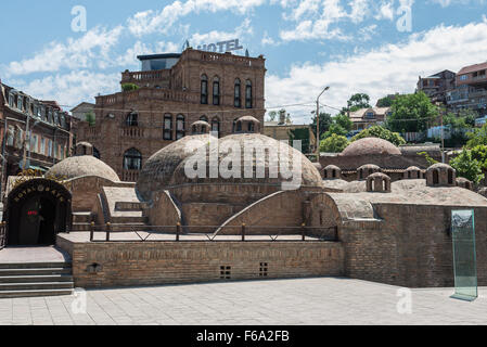 Public sulphur baths in Abanotubani district in Tbilisi, Georgia - Stock Photo