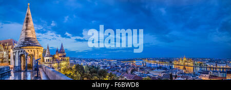 Panorama of Budapest from the Fisherman's Bastion - Stock Photo