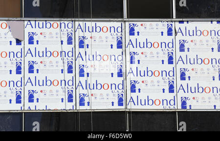 Alubond, Aluminium Composite Panel Cladding Works in Progress for Tower Building - Front Elevation Close Up - Stock Photo