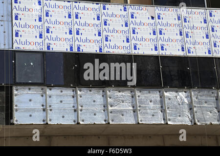 Aluminium Composite Panel Cladding Works in Progress for Tower Building - Close up shot - Stock Photo