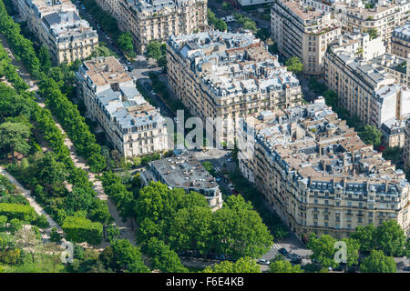 View of houses and streets from Eiffel Tower, 7th arrondissement, Paris, Ile-de-France, France - Stock Photo