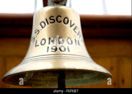 The brass ships bell on RRS Discovery Royal Research Ship moored at Discovery Point Dundee - Stock Photo