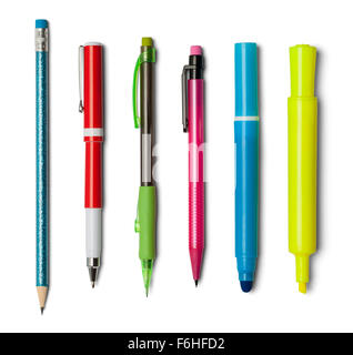 Various Pens Pencils and Markers Isolated on a White Background. - Stock Photo