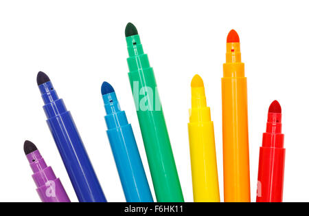 Group of Colored Markers Isolated on a White Background. - Stock Photo