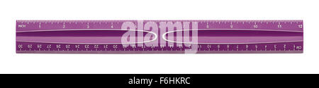 Purple Plastic Ruler Isolated on a White Background. - Stock Photo
