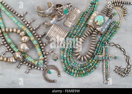 A collection of Vintage Native American Jewelry, Turquoise and Sterling Silver. Necklaces, cuff bracelets, Squash - Stock Photo