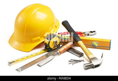 various type of carpentry tools in group - Stock Photo