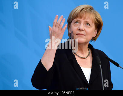 FILE - An archive picture dated 17 July 2014, shows German Chancellor Angela Merkel (CDU) during her 60th birthday - Stock Photo