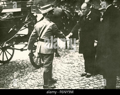 The King of Italy Victor Emmanuel III and Benito Mussolini - Stock Photo