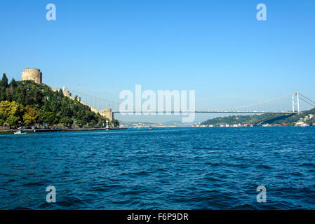 The Bosphorus and the Rumelian castle in Istanbul, Turkey - Stock Photo