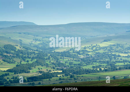 Looking up Walden, Wensleydale, from top of Grinton Moor. North Yorkshire, UK. - Stock Photo