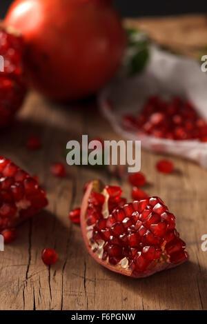 pomegranate fruit healthy food fresh organic still life vegetarian juicy antioxidant - Stock Photo