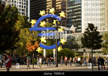 Euro sculpture in front of the former European Central Bank, ECB, Frankfurt am Main, Hesse, Germany - Stock Photo