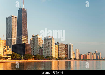 875 N. Michigan Avenue, formerly known as Hancock Tower Center (tallest), skyline and Lake Michigan, Chicago, Illinois - Stock Photo