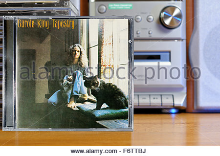 Carole King 1971 2nd album Tapestry, piled music CD cases, Dorset England - Stock Photo