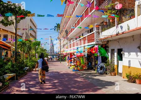 Back street in Zona Romantica towards Los Muertos, Old town, Puerto Vallarta, Mexico - Stock Photo