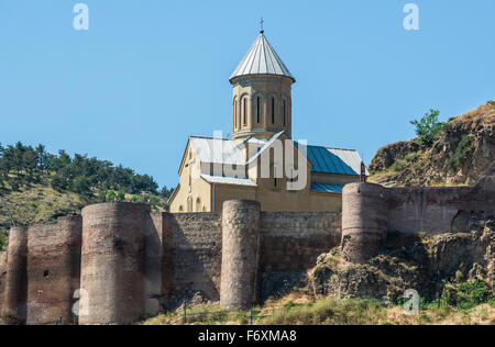 Narikala Fortress walls and St Nicholas church in Tbilisi, capital of Georgia - Stock Photo