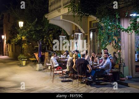small restaurant at Ioane Shavteli Street in Tbilisi, capital of Georgia - Stock Photo