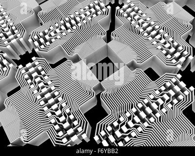 Quantum computer. Conceptual computer artwork of electronic circuitry as part of a quantum computer structure. - Stock Photo