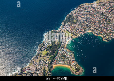 SYDNEY, AUSTRALIA - OCT 23 2014: From the air view of Watsons Bay, a suburb of Sydney, Australia - Stock Photo