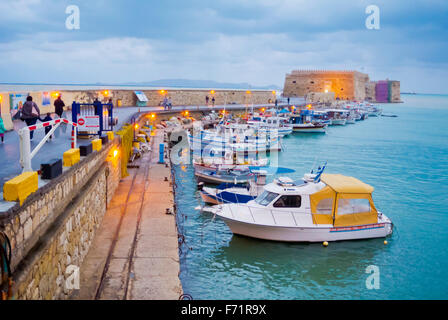 Old Venetian harbour, with Koulos fortress, Heraklion, Crete island, Greece - Stock Photo
