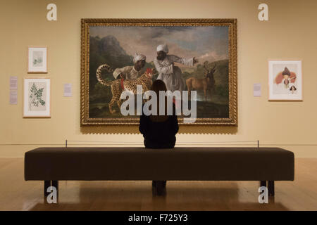 London, UK. 23 November 2015. Picture: A Cheetah and a Stag with Two Indian Attendants, c 1764, by George Stubbs. - Stock Photo