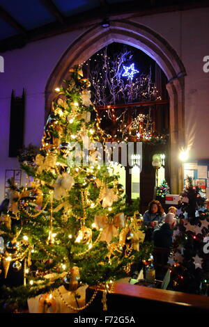 A Christmas Tres Festival inside St Edmund's Church in the centre of Castleton, a village in Derbyshire's Peak District, - Stock Photo