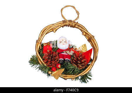 Christmas decoration with Santa Claus isolated on white - Stock Photo