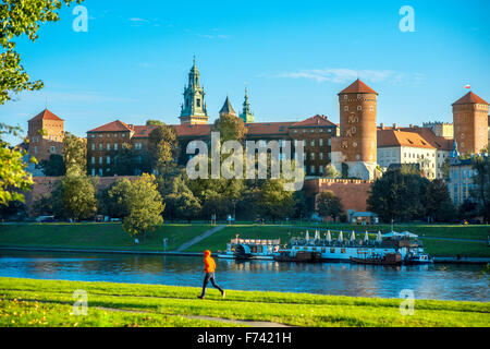 View on Wawel castle from the Vistula river in Krakow on the morning - Stock Photo