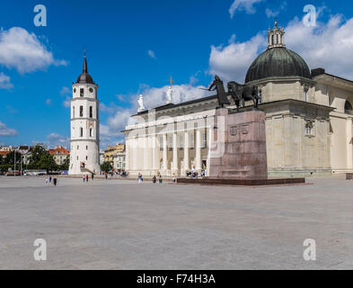Cathedral with Bell Tower and Gediminas statue Square in Vilnius, Lithuania - Stock Photo