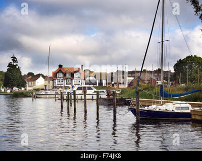 Boats on the River Bure at Horning Norfolk England - Stock Photo