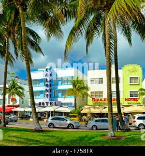Art Deco Hotels, Ocean Drive, Miami Florida USA - Stock Photo