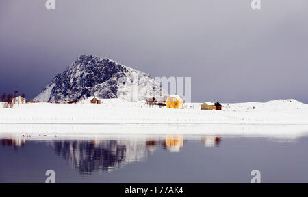 Rural scene from Lofoten, Norway - Stock Photo