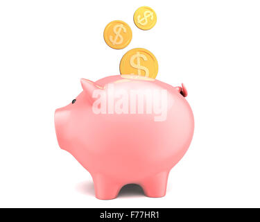 Piggy bank, with coins falling into slot. Isolated on white - Stock Photo