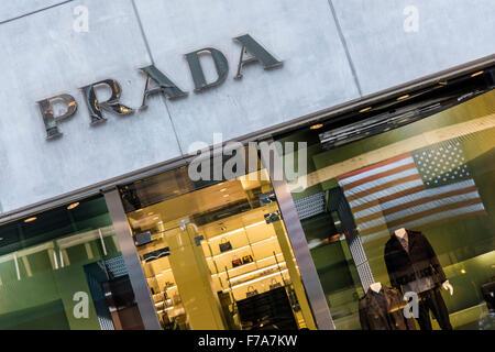 Prada store, Fifth Avenue, Manhattan, New York, USA - Stock Photo