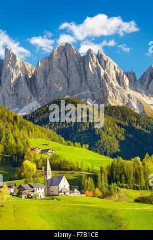 Small church in Santa Maddalena village, Dolomites Mountains, Tyrol, Italy - Stock Photo