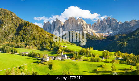 Santa Maddalena village in Dolomites Mountains, Puez Odle Nature Park, South Tyrol, European Alps, Italy - Stock Photo