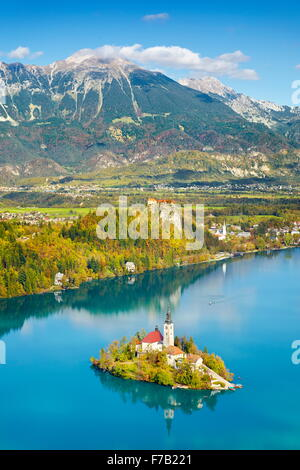 Autumn Lake Bled, Julian Alps, Slovenia - Stock Photo