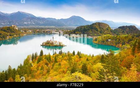 Lake Bled in autumn colors, Julian Alps, Slovenia - Stock Photo