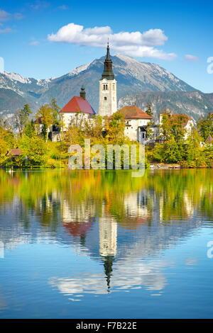 Lake Bled and Santa Maria Church, Julian Alps, Slovenia - Stock Photo