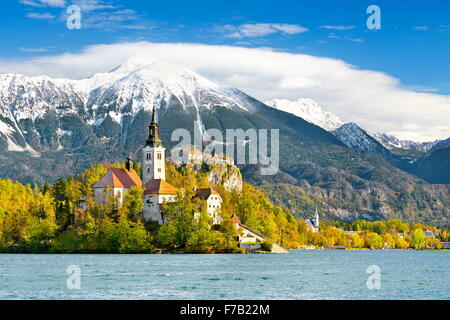 Lake Bled and Santa Maria Church, Slovenia - Stock Photo