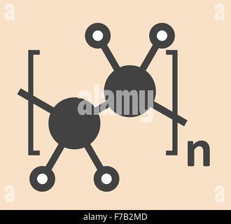 Polyethylene (PE, polythene, polyethene) plastic, chemical structure. Stylized skeletal formula. Atoms are shown - Stock Photo