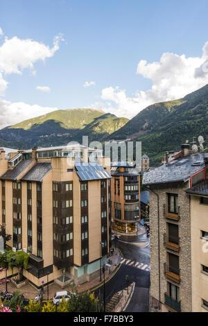 Andorra la Vella, capital city of Andorra, Andorra - Stock Photo