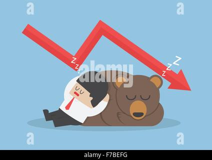 Businessman sleeping with bear with down trend graph, VECTOR, EPS10 - Stock Photo