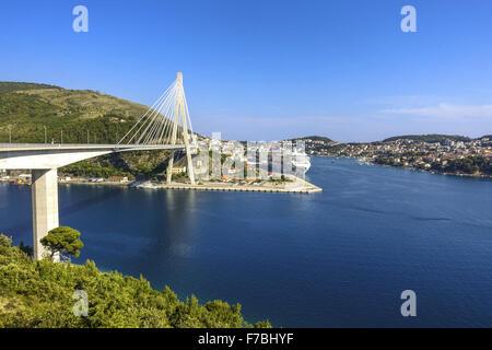Cable-stayed bridge, Dubrovnik, Dalmatia, Croatia - Stock Photo