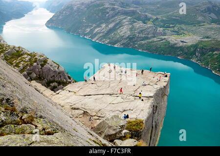 Landscape of Preikestolen Pulpit Rock, Lysefjorden, Norway - Stock Photo