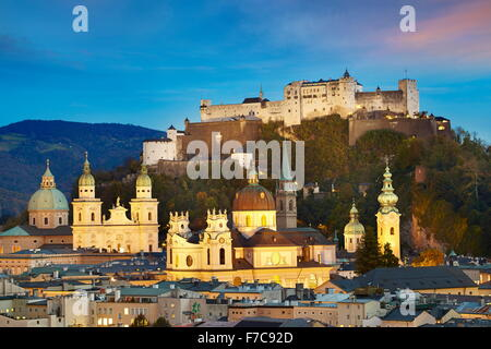 Aerial view of Salzburg Old Town, castle visible in the background, Austria - Stock Photo