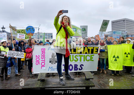 Bristol, UK, 29th November, 2015. Before the start of the Bristols peoples action on climate change protest march - Stock Photo